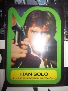 STAR WARS VINTAGE CARD TOPPS STICKER HAN SOLO N°3 1977 SERIE 1 MINT N/MINT