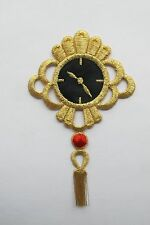 #2241 Gold Black Watch Trim Fringe Embroidery Iron On Applique Patch