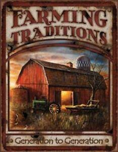 Farming Traditions Novelty TIN SIGN Vintage John Deere Barn Wall Poster Decor