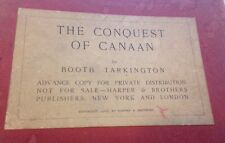 CONQUEST OF CANAAN Tarkington Private Distribution From Harper Brothers 1905