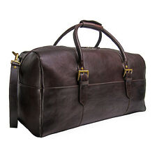 "NEW HIDESIGN LEATHER 20"" CARRY-ON CABIN DUFFEL BAG LUGGAGE WITH STRAP BROWN"