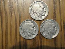 Lot of 3 1935P 1936P 1937P Buffalo Nickels F-Vf Free Shipping