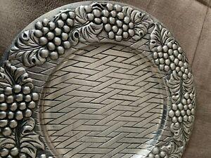 Aluminum Plate with Ornamental Grape Designs