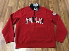 LARGE - Polo Ralph Lauren Spell Out USA Flag Fleece 1/2 Zip Pullover Jacket Red