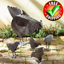 New listing Metal Garden Sculpture Set Bird Outdoor Patio Decor Decoration Chicken Statues