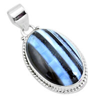 19.23cts Natural Blue Owyhee Opal 925 Sterling Silver Pendant Jewelry P23200