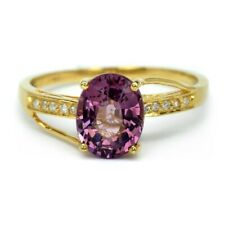 1.90ct Natural Purple Spinel With 10pcs 0.03ct VS/G DIAMOND 18K Solid Gold Ring