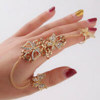Fashion Women Hollow Butterfly Finger Chain Adjustable Opening Ring Jewelry Gift