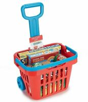 Melissa & Doug Fill & Roll Grocery Basket With Handle Playset Play Food 11 Piece
