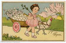 JOYEUSES PâQUES.HAPPY EASTER. PETITE FILLE. LITTLE GIRL POULE. HEN. OEUFS. EGGS.