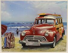 OLDSMOBILE WOODY BEACH WAGON METAL SIGN Surfin' USA by Scott Westmoreland Tin