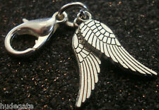 10 Silver Tone Double Angel Wing Clip on Charms for Bracelets Wholesale Job Lot