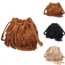 Damen Hot Quaste Fransen Kuriertasche Handtasche Schultertasche Eimer Tasche