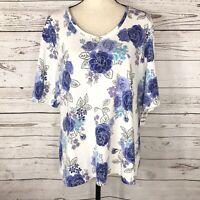 Karen Scott Womens Plus SZ 1X-Large Top Floral V-Neck Elbow Sleeves Stretch Blue