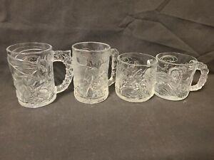 Complete Set of 4 Vintage McDonalds 1995 Batman Forever Glass Mugs