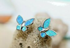 Genuine 925 Sterling Silver Butterfly stud Earrings with inlay Blue Opal wings