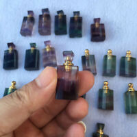 Mini!! Natural Fluorite Healing Crystal Stone Perfume Wish Bottle Pendant Gift