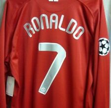 MANCHESTER UNITED 2008 UCL FINAL RETRO SHIRT LONG SLEEVE, RONALDO, Size S M L XL
