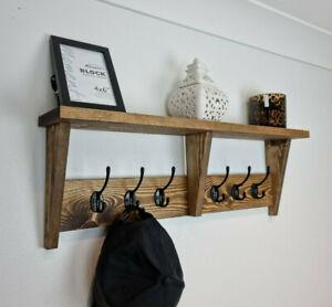 Handmade Pine Coat Rack With Shelf And Metal Hooks Key Hat Holder Rustic