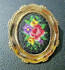 Vintage Oval Petit Point Hand Embroidery Floral Gold Tone Brooch Pin