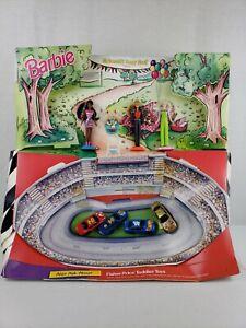 Vintage 1998 Barbie Hot Wheels Nascar 50th McDonalds Happy Meal Toys Display