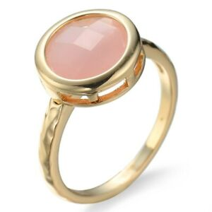 Amazing Round Pink Opal Cz Band Women's Party Yellow Gold Filled Rings Size 6-10