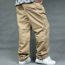 Men's Baggy Military Army Cargo Work Pants Outdoor Loose Pockets Trousers Casual