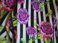 Betsey Johnson Performance Striped Floral Leggings Women's Size Small Crop