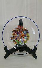 "Murano Hand Blown Millefiori Cobalt Blue Glass 7.5"" Bowl Dish"