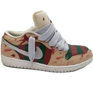 Custom Made Jordan 1 Freddy Krueger Mens Size 13 Red Green Stripes Silver Swoosh
