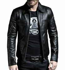 Men's Genuine Lambskin Leather Motorcycle Jacket Slim Fit Biker Jacket