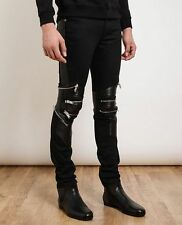 Saint Laurent Men's Black Leather and Denim Skinny Biker Jeans Sz 28