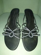 Ladies Black Debut Shoes Size 6 Diamante Detail Strappy Heels. Casual or Party.