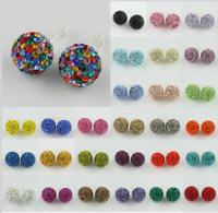Sparkle Czech Crystal Disco Ball Silver Stud Earrings 6mm 8mm 10mm 12mm