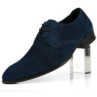 New Men's Suede Leather Dress Formal shoes Lace up Brown Blue W0801
