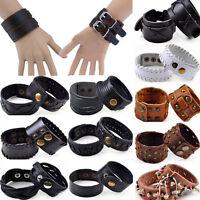 Newest Punk Men Women Wide Genuine Leather Belt Bracelet Cuff Wristband Bangle