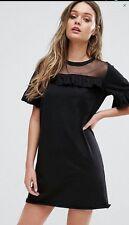 Black jersey mini dress by Boohoo fits 12 14 NEW