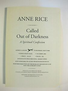 SIGNED/Inscribed Anne Rice Called Out of Darkness Advanced Uncorrected Proof PB