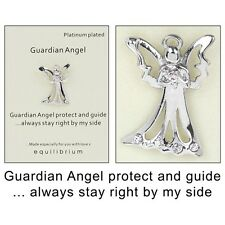Equilibrium Platinum Plated Guardian Angel Protect And Guide Pin Brooch - 3
