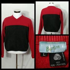 Burton Wolle Ski Pullover Herren Groß Rot & Grau Langärmlig Pullover Inv #Z2313