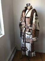 BAUER 100% Merino Wool Robe Jacket Blanket with belt  sz.M
