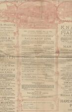 *AUGUSTIN DALY COMPANY RARE LARGE 1887 PROGRAM JOHN DREW ADA REHAN*