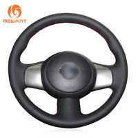 DIY Black Leather Steering Wheel Cover for Nissan March Sunny Versa Almera 2013