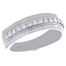 Channel Set 7mm Ring 1 /2 Ct. 10K White Gold Round Diamond Milgrain Wedding Band