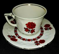 Vintage Winterling Schwarzenbach Bavaria Teacup Tea Cup & Saucer with Red Roses
