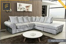 Crushed Velvet Corner Sofa ROYAL Fabric Silver or Black with Footstool