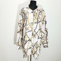 Susan Graver Blouse Top 28W Nautical Printed Stretch Cotton Long Sleeve A276433