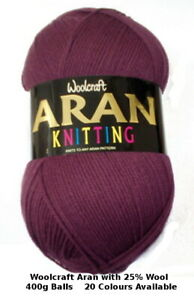 Woolcraft Aran with 25% Wool 400g (any number of balls £2.60 postage)