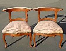 Pair of Vintage French Country Red Plaid Accent Chairs w Inique Flat Backrest