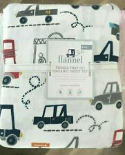 Pottery Barn Kids Organic Flannel Things that go FULL sheet set transportation